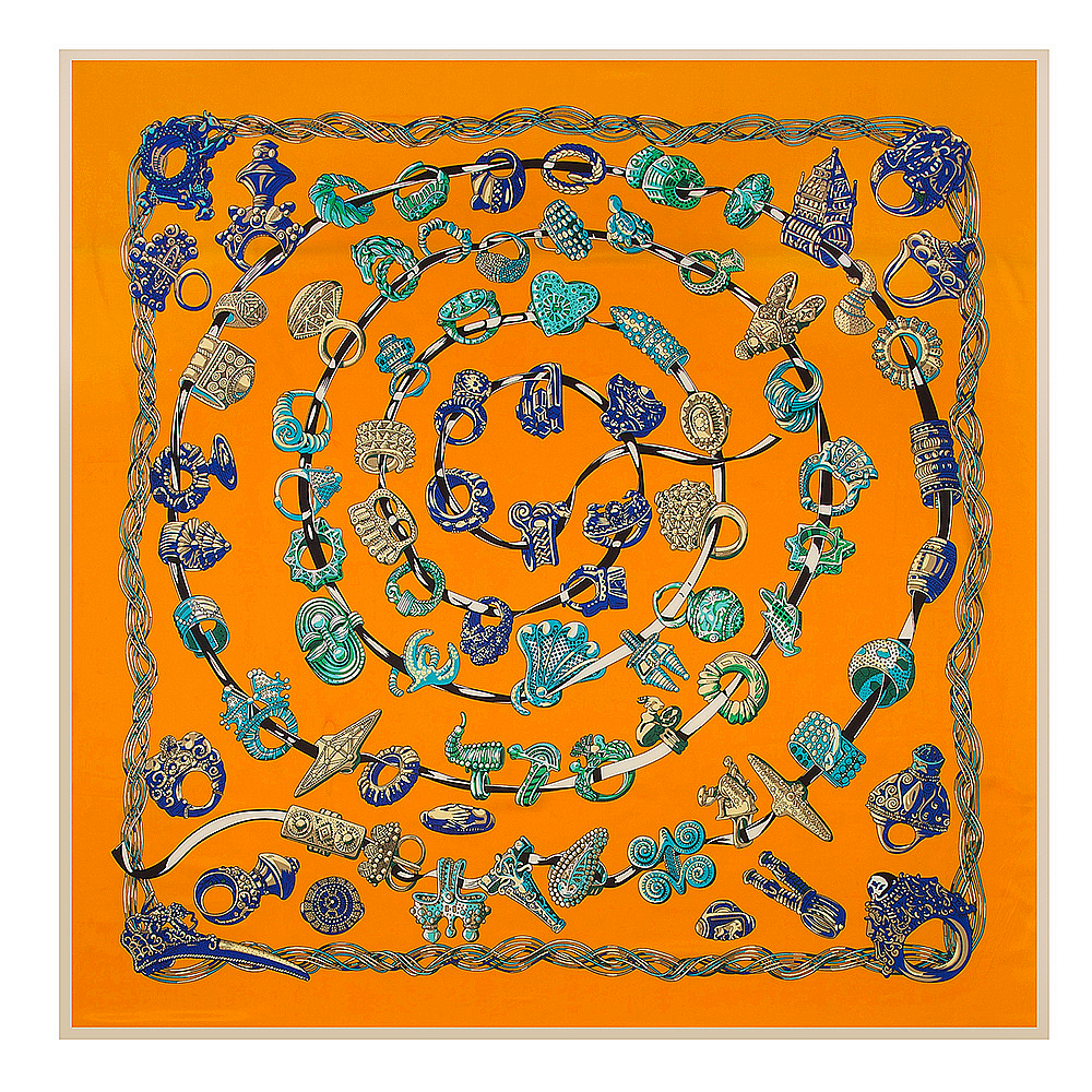 [POBING]100% Silk Square   Scarf   Women Luxury Ring Digital Print   Scarves  &  Wraps   Euro Brand Hijab Foulard Bandana Silk Neckerchief