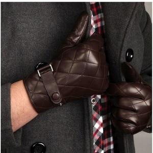Image 2 - ใหม่ 2020 ชายถุงมือ Solid ของแท้หนังแฟชั่นฤดูหนาว Sheepskin ถุงมือ Plus กำมะหยี่ M020NC