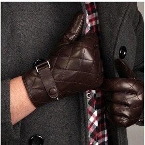 Image 2 - Guantes de piel auténtica Lisa para hombre, guantes de piel de oveja a la moda, de terciopelo, para invierno térmico, M020NC, 2020