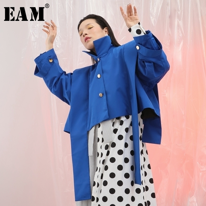 [EAM] 2018 на осень-зиму Стенд ошейник с длинным рукавом синий Ribbonbig Размеры оборками Разделение совместных короткая куртка Для женщин пальто мо...