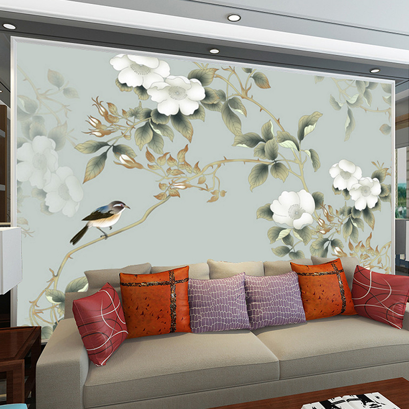 Murals custom any size hand painted flowers birds picture for Custom size wall mural
