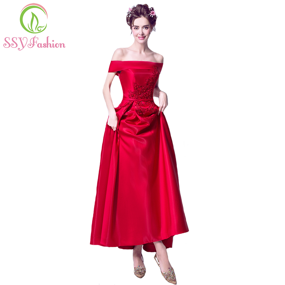Online-Shop SSYFashion New Luxury Rot Satin Langes Abendkleid Braut ...