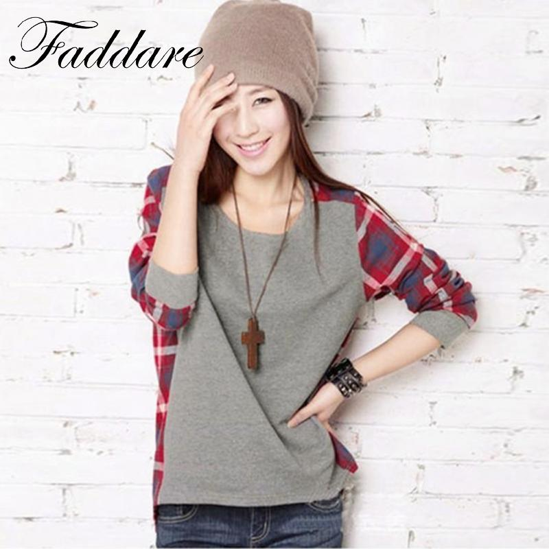 Women Casual Crew Neck T-shirt Tops Spring Autumn Warm Patchwork Plaid Check Long Sleeve Shirts