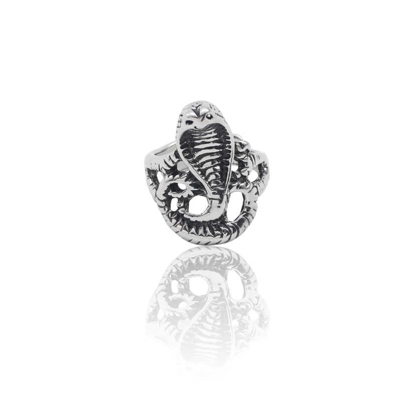 Retro Punk Wind Cobra Animal Ladies Ring Personality Men And Women Exaggerated Trend Snake Ring Opening Adjustable Jewelry Gift