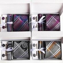 2018 New Tie Hanky Cuff Button Clip Set Men 8cm Business Suit Professional Wedding Gift Box