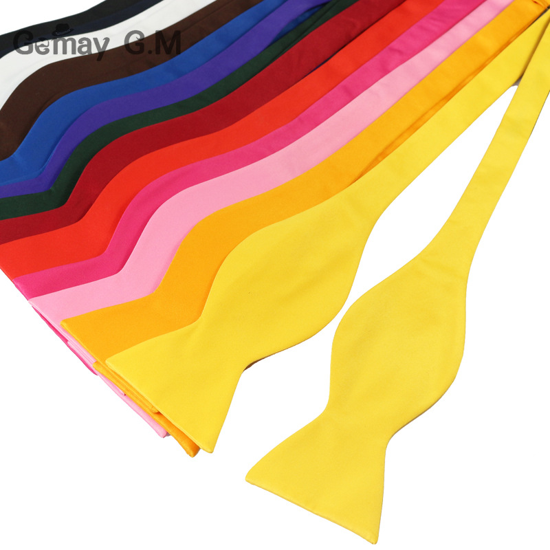 Fashion Commercial Mens Bowties For Men Plain Sold Color Silk Self Bow ties High Quality Multicolor Pre-tied For Wedding Party