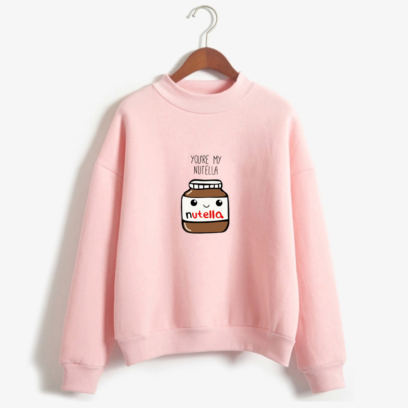New Women Harajuku Hoodies Korean Fashion You Are My Nutella Printed Kawaii Sweatshirt Kpop Befree Moletom Feminino Ropa