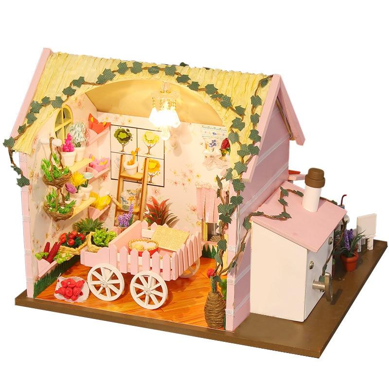 Wood House Model Furniture Kit Miniature Royal Florist Dollhouse DIY Doll House LED Lights Puzzle Toy Birthday Christmas Gift