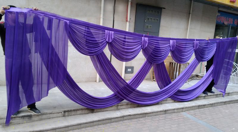 Luxury and elegant 6 meter long red purple gold wedding swags for wedding backdrop drapery event party decoration 2018