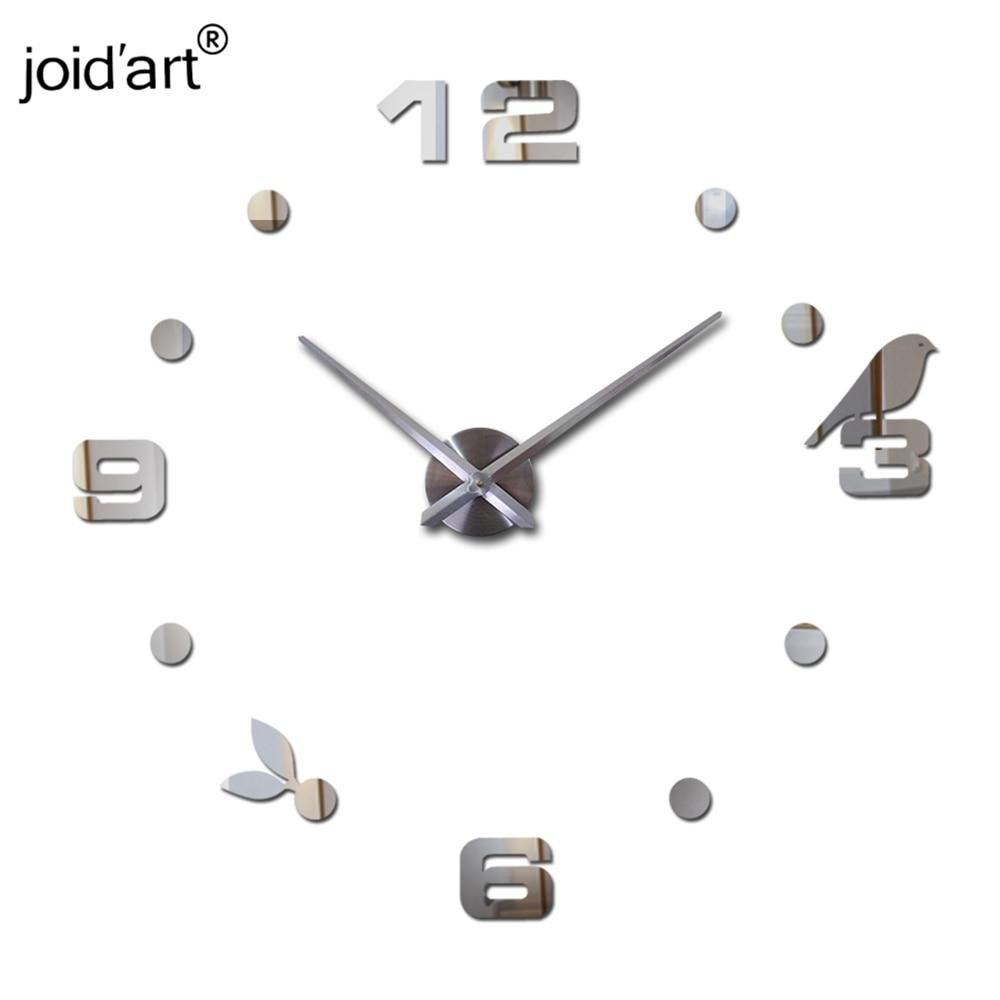 Нов горещ кварцов разпродажба тих стенен часовник интересен 3d diy часовници за декор на дома птици номер арт стикери единични стикери за стена