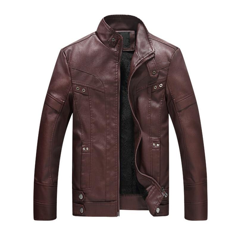 все цены на Fashion Men Motorcycle Leather Jacket Stand Collar Zipper Faux Fur Pu Leather Coats Brand Male Jacket jaqueta de couro masculino