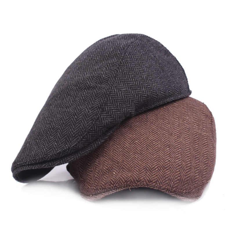 6300afa8 HT1100 New Fashion Wool Felt Mens Berets Winter Warm Striped Flat Caps High  Quality Cabbie Newsboy
