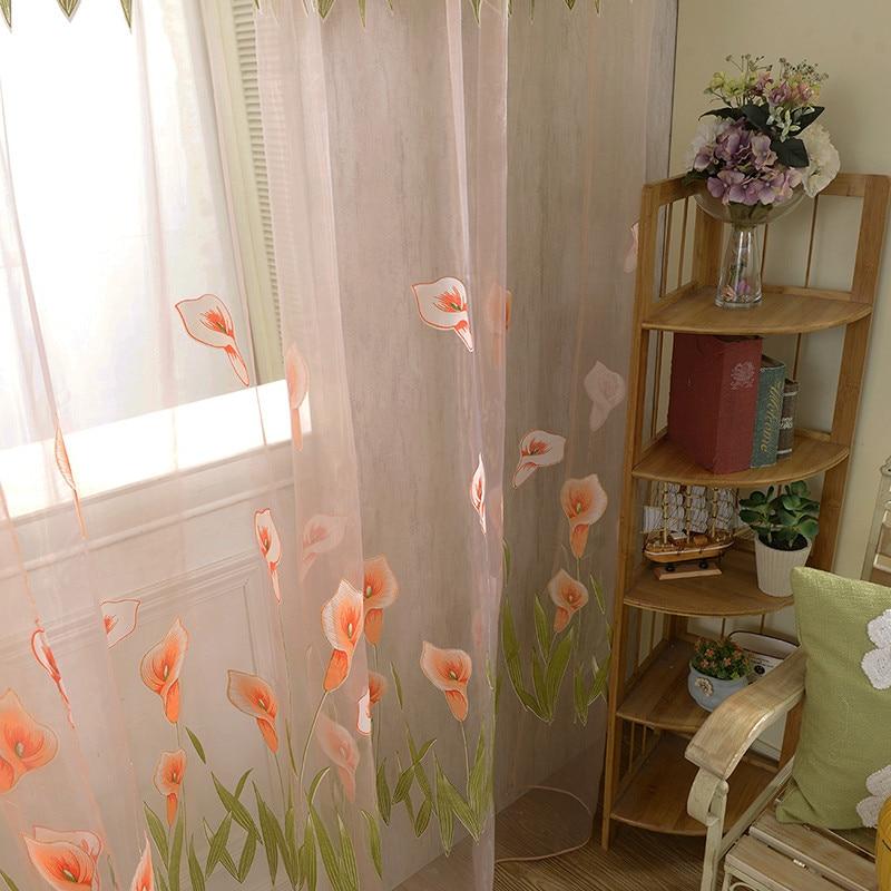 Nice Door Drape Panel Room Flower Sheer Voile Curtain Divider Scarf Decor Window D9440