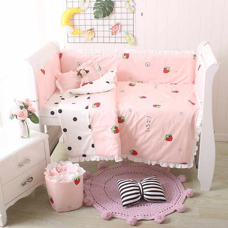 5 pçs/set bonito do bebê conjunto de cama berço conjunto incluir 4 pçs pára-choques e 1 pc folha cama qualidade do bebê pára-choques algodão