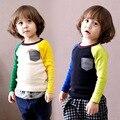 Meninos menina 100% Algodão Moda T-shirt longos da luva marca Estilo Europeu pokemon patchwork bebê crianças Treino tees vestuário Ful