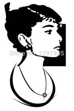 Free Shipping AUDREY HEPBURN Silhouette Wall Vinyl Stickers Art Decal Reusable & Removable Decal fashion custom made poster