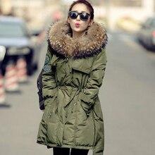 Large Real Fur 2016 Winter Jacket Women White Duck Down Parka Jackets Natural Raccoon Fur Collar Female Winter Coat Women Parkas