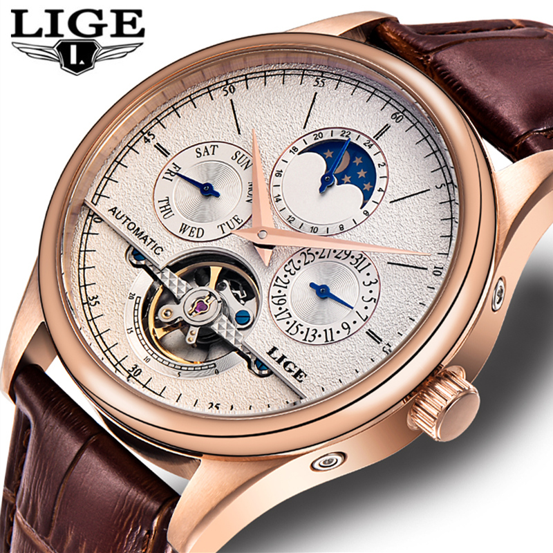 LIGE Luxury Brand Men s Fashion Sport Watch Automatic Mechanical Watch Men Leather Waterproof Gold Watches