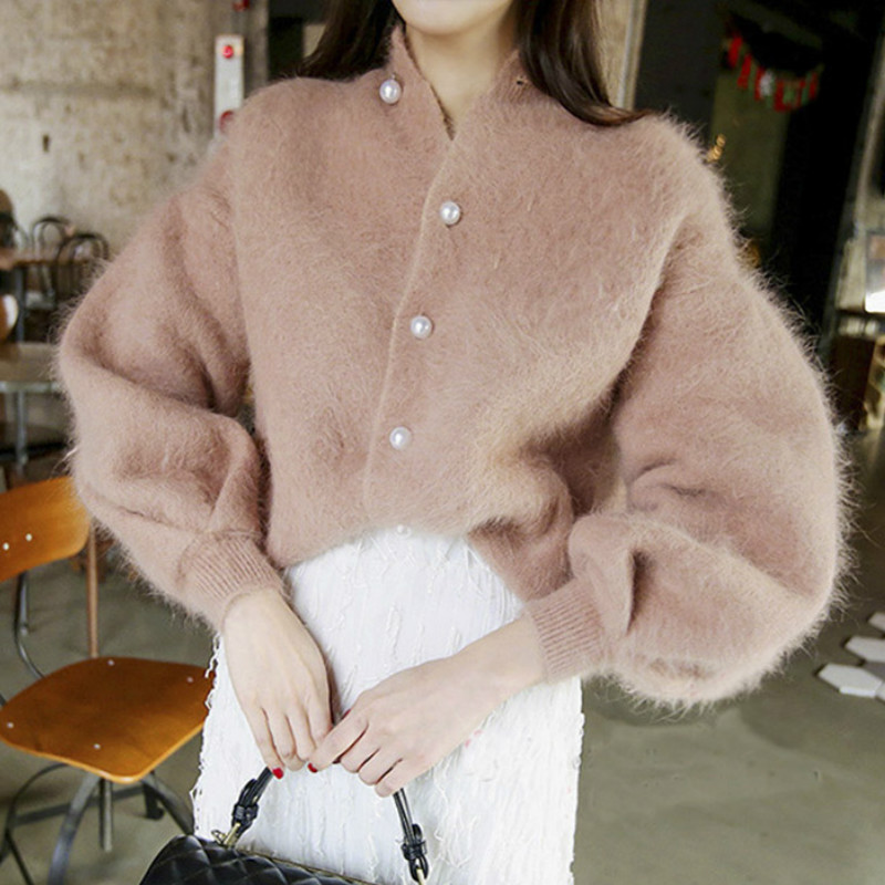 Chic Pearls Beads Mohair Sweater Lantern Sleeved Knitted Cardigan Buckles Sweater Velvet Jacket Oversized Sweater Tops