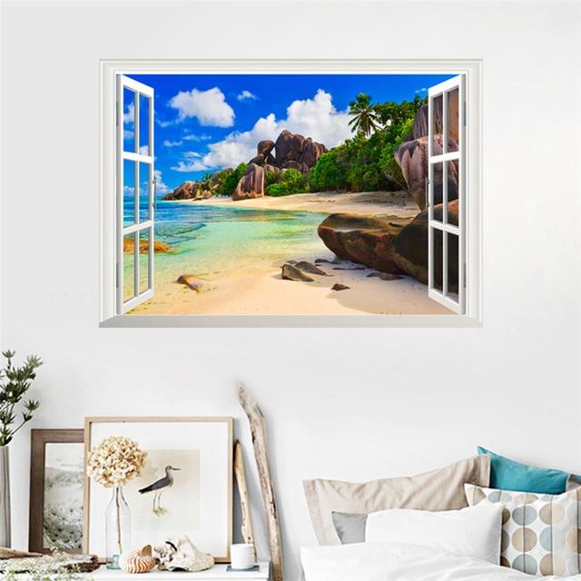 Sea Beach Island 3D Window Wall Stickers 2