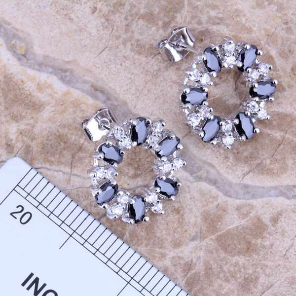 Terrific สีดำ Cubic Zirconia สีขาว CZ Silver Plated ชุดเครื่องประดับต่างหูจี้แหวนขนาด 6 / 7 / 8 / 9 / 10 / 11 / 12 S0145