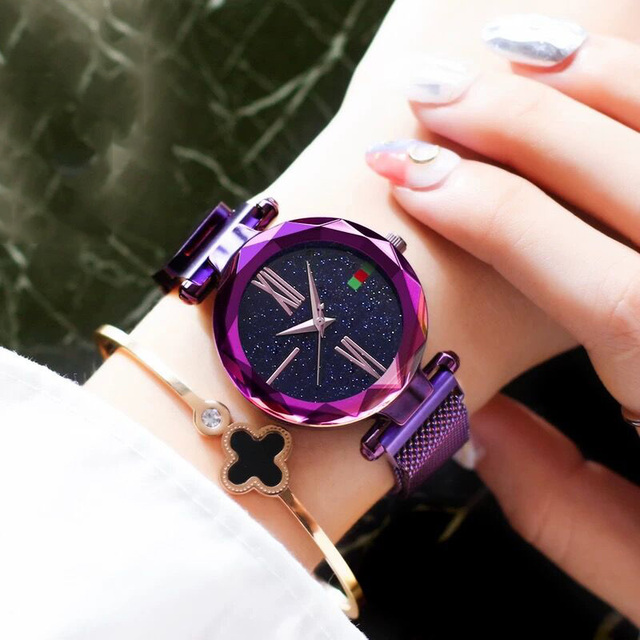 2019 Fashion Rose Gold Women Watch Roman Numeral Magnet buckle Female Quartz Wri