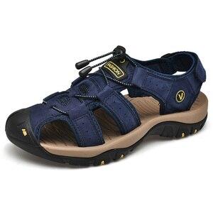 Image 3 - Men Leather Outdoor Sandals Trekking Sandalias Hombre Mens Shoes Sandal Summer Man Sandles Sandali Uomo Casual Slip On Platform