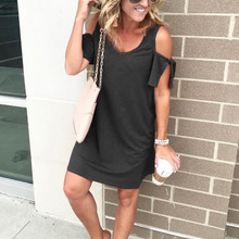 woman short sleeve womans dress fashion 2019  cold shoulder v-neck solid clothing female mini aesthetic
