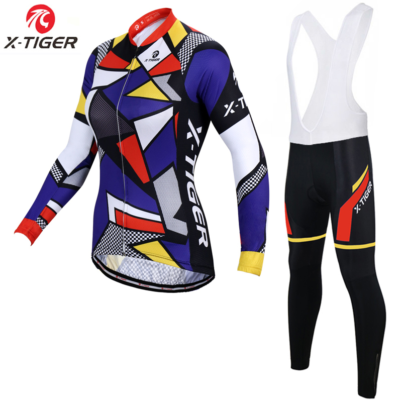 X Tiger Women Spring Pro Women Cycling Jersey Set Long Sleeve Mountain Bike Wear Racing Bicycle