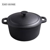 XMT HOME cast iron stew pots kitchen cooking induction gas universal boilers soup pot non coating iron dutch pot
