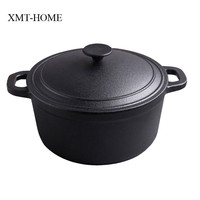 XMT HOME cast iron stew pots kitchen cooking induction gas universal boilers soup pot non coating iron dutch pot