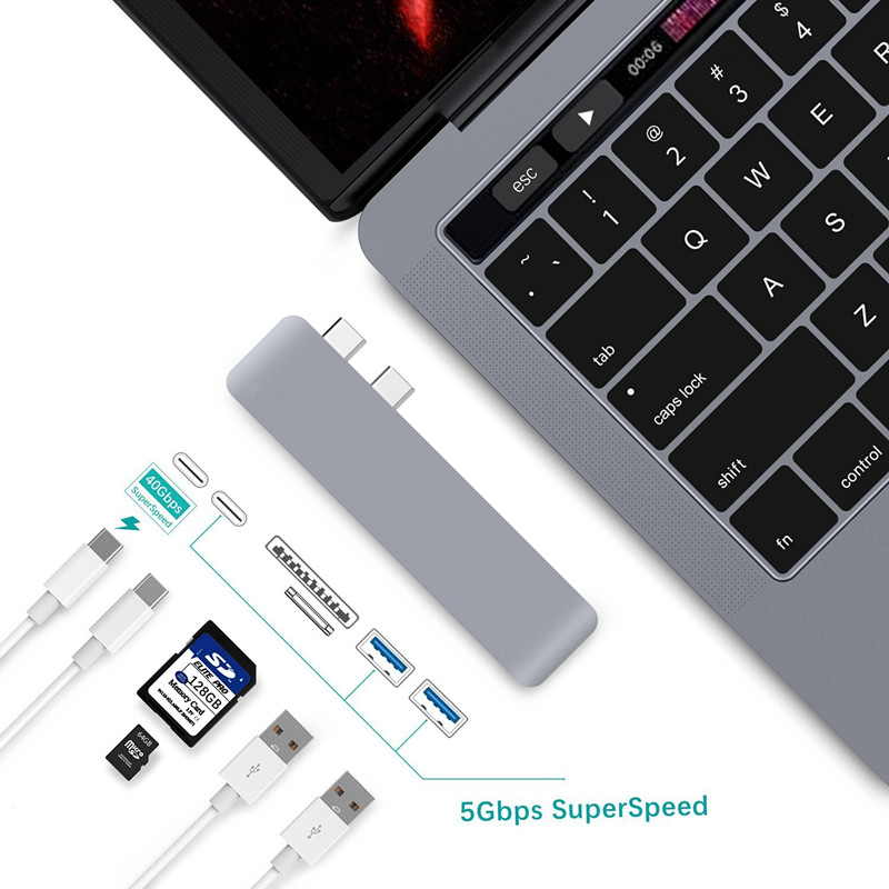 EASYA USB C Hub Adapter Thunderbolt 3 Dual USB 3.1 Type-C with Hub 3.0 USB Combo Micro SD Card Reader Slot for MacBook Pro 2017
