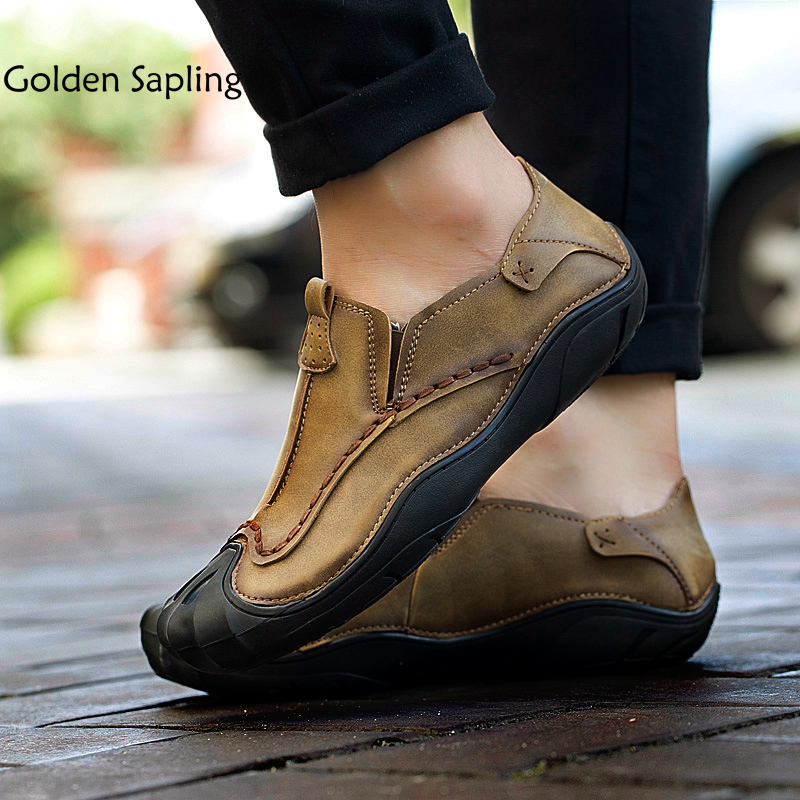 Golden Sapling Hiking Shoes Men Breathable Leather Man Sneakers For Tourism Trekking New Men's Outdoor Shoes Male Sports Sneaker