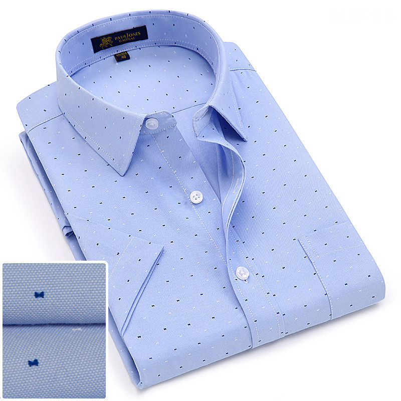 2019Summer turndown collar short sleeve oxford fabric soft print business men smart casual shirts with chest pocket S 4xl 8color-in Casual Shirts from Men's Clothing