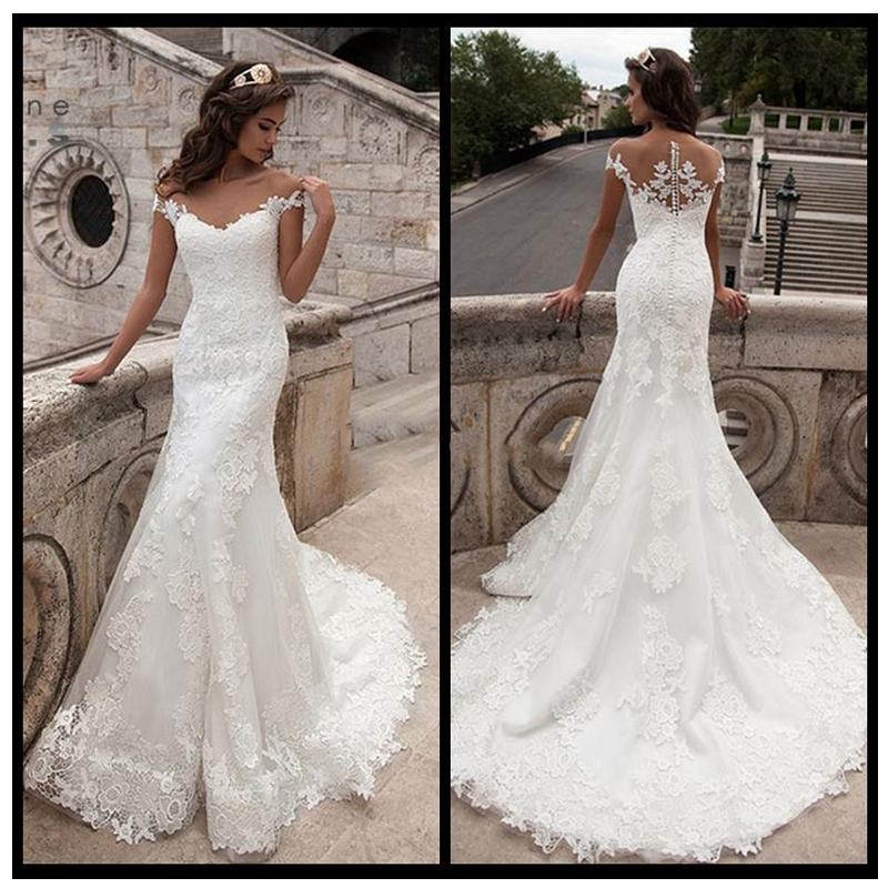 Smileven White Ivory Lace Wedding Dress 2019 Elegant Fairy Bride Dresses Double Shoulder Hot Sale Wedding Bridal Gowns 2019