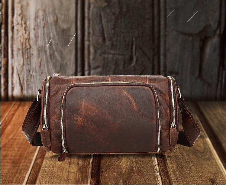 Fashion trend men's crazy-horse leather messenger bag small shoulder bag vintage male genuine leather handbag cow leather bag