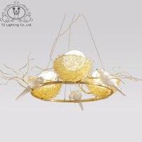 TZ современный Птичье гнездо светодиодный подвесной светильник Стекло абажур алюминиевый провод лампы для кафе Обеденная hanglamp подвесной св