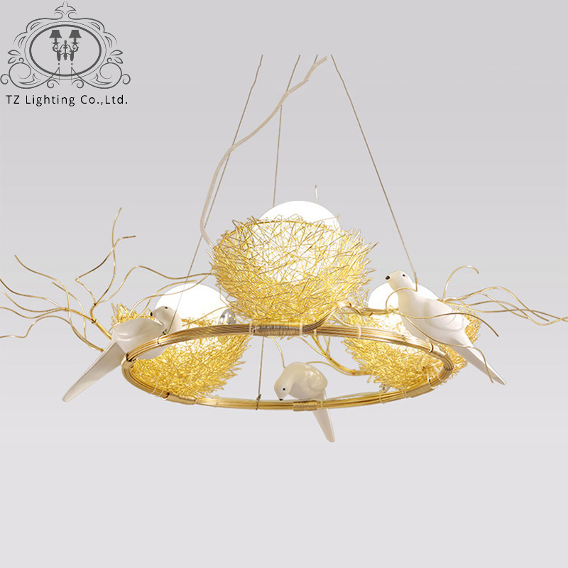 TZ Modern Bird's Nest LED Pendant Light Glass Lampshade Aluminium Wire Lamp For Parlor Dining Room hanglamp suspension luminaire tz modern pendant lights suspension luminaire noveity hanglamp for home lighting led vintage pendant lamp glass lampshade