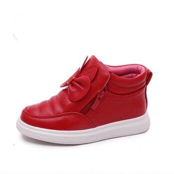 Осенне-зимняя Новинка, детская повседневная обувь для девочек, высокие зимние сапоги для девочек 3-13 лет, красный, черный, розовый, белый