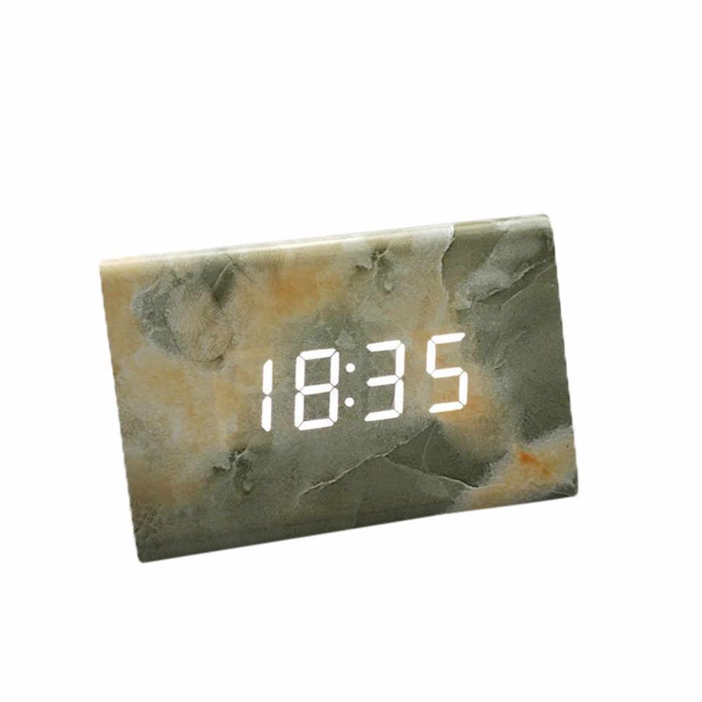2019 Новый термометр-календарь с голосовым управлением деревянный светодиодный цифровой будильник USB/AAA ДВП + ПВХ мраморная линия будильника