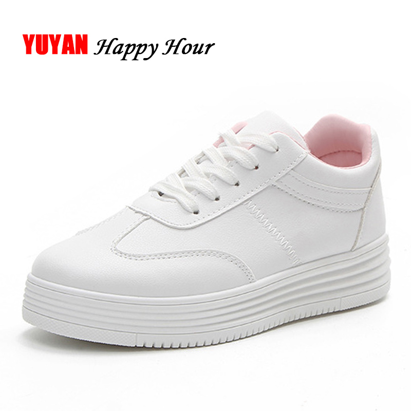 New 2018 Spring Fashion Sneakers Women Flat Platform White Shoes Ladies Brand Sneakers Soft ...