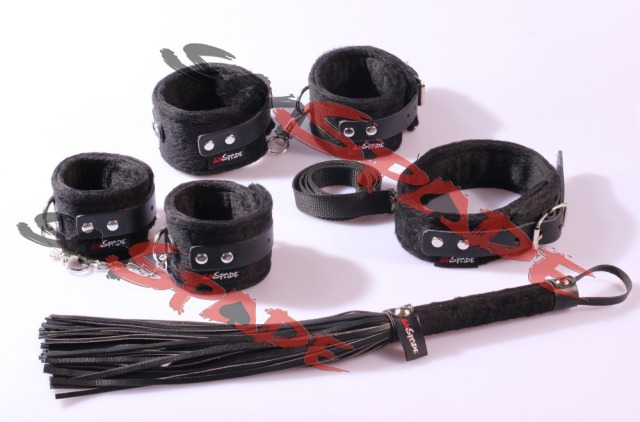 Bondage velvet bedroom kit, 4pcs plush adult toys Novelty product collar hand cuffs feetcuffs leather whip sex toys for couple