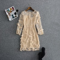 New 2018 Spring Summer Party Wedding Short Dress Womens Allover Appliques Floral Embroidery Dress Princess Ladies