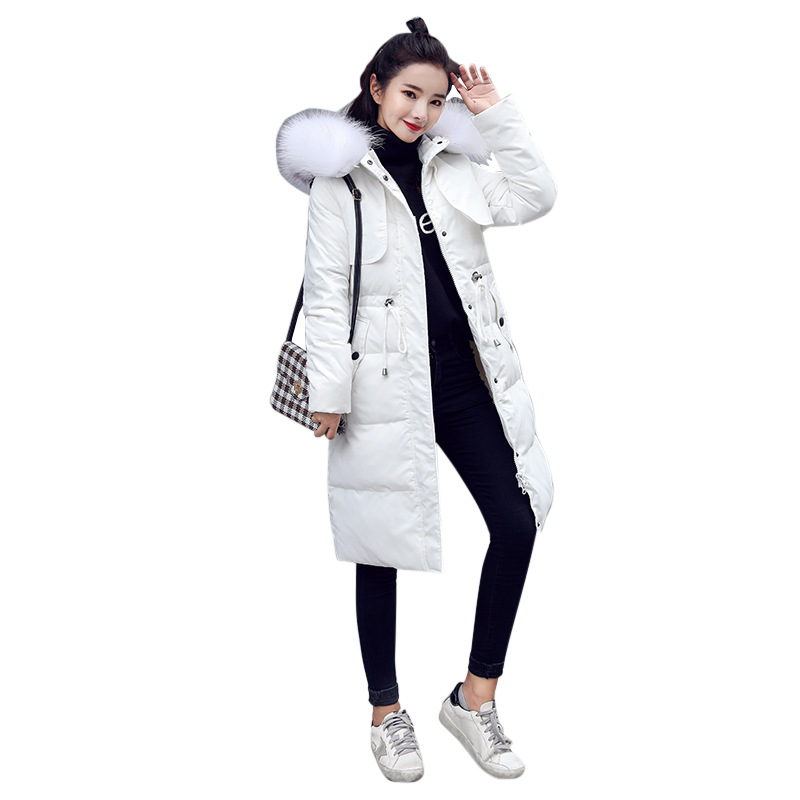 White Duck Down Jacket 2018 Female Parkas For Winter Jacket Women Long Thick Parka Natural Raccoon