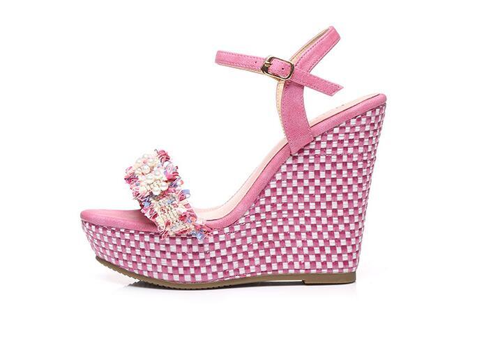 Moraima Snc Handmade sandals gladiator wedges shoes women summer Pearl decor platform high heels sandals girls 12 CM pumps shoes