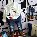 2016 Autumn new boys white printed cartoon mickey shirt casual hole jeans suit fashion kids outwear spring boy clothes 16O101