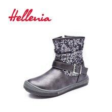 9321f7eacb8 Hellenia de niñas de moda botas de eco-cuero corto forro de peluche de los  niños zapatos de nieve zip Otoño Invierno gris plata .