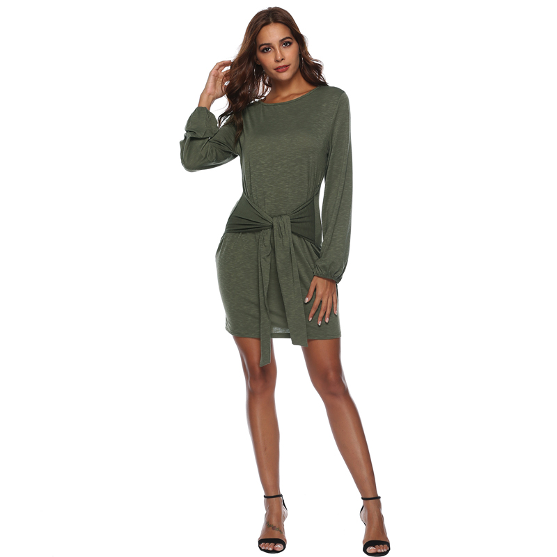 PGSD Autumn Mid waist Women dress A Line Sashes Dress long Sleeves Short Casual Round Neck Dresses Fashion Solid Party Dress in Dresses from Women 39 s Clothing