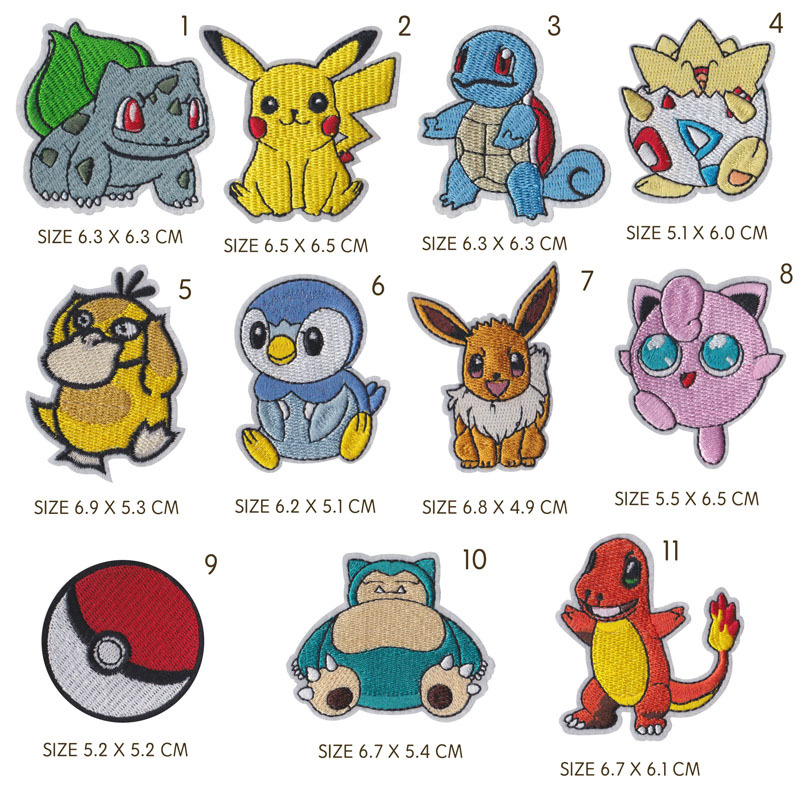 Giancomics Pikachu Cloth Patch Cute Snorlax Charmander Dragonite Figure Embroidered Applique Stickers Iron on For Jeans Clothes