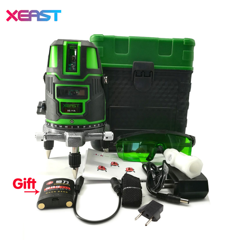 XEAST XE-11A NEW 5 line 6 point Green laser level meter 360 degree laser level with outdoor mode tilt mode Self Leveling kapro laser level laser angle meter investment line instrument 90 degree laser vertical scribe 20 meters